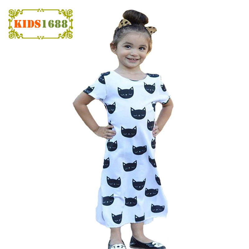 Summer Style Kids Girl Clothes Dresses 2017 Cartoon Cat Pattern Girl Kids Princess Dress Fashion Animal Toddler Girl Party Dress free shipping 2016 summer kids girl dress princess dresses cartoon the black cat costume children toddler clothes top sale