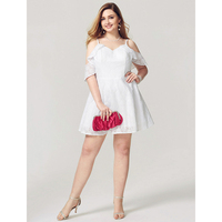 TS Couture A-linie Fit & Flare Spaghetti-trägern Kurz/Mini Baumwolle Cocktailparty-heimkehr-kleid mit Cascading Rüschen