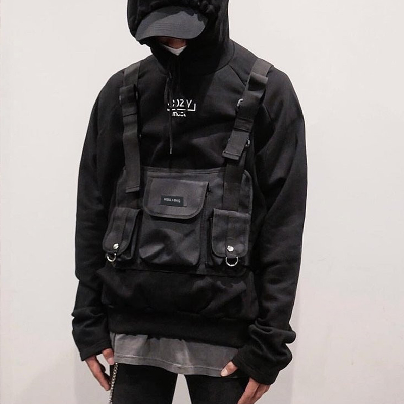 Fashion Chest Rig Bag Hip Hop Streetwear Functional Tactical Chest Bags Cross Shoulder Bag Kanye West  backpack waist bag black Рюкзак