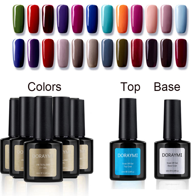 Hot Sale Blue Place DORAYMI 5PCS Gel Lac 10ml Base Top Primer Professional Polish 120 Colors Nail UV LED Lamp Varnish 12pcs lot green series uv gel nail polish led lamp gel lacquer gel polish vernis semi permanent gel varnish nail primer base top