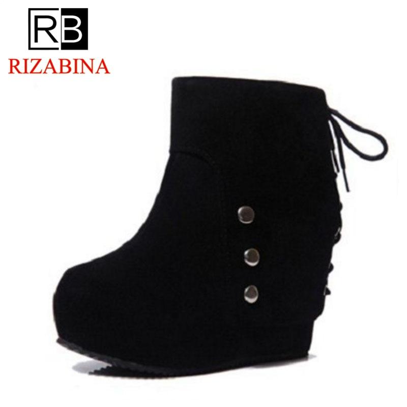 RizaBina Women High Heel Boots Zipper Rivets Platform Wedges Women Ankle Boots Ornate Shoes Sexy Ladies Footwear Size 35-39