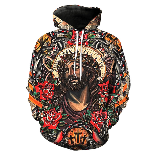 0460a9f325aa Euro Size Fashion Floral Hoodie Sweatshirt Men Gothic 3D God Jesus Print  Hooded Pullover Man Halloween Hip Hop Casual Tracksuit