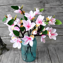 4 Heads Artificial Mangnolia Flowers Fake Moth flor Orchid Flower for Home Wedding DIY Decoration Real Touch Decor Flore