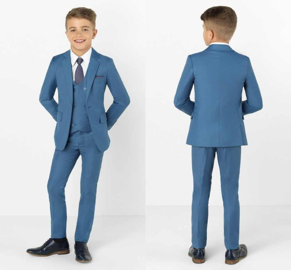 2019 New Arrival Boys' Attire Peaked Lapel Kids Suits Custom Made Clothing Set 3 Pieces Prom Suits (Jacket+Pants+Tie+Vest) 024