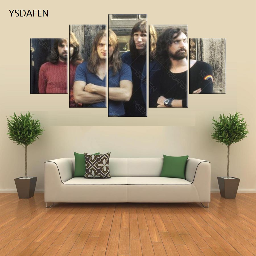 5 pieces printed pink floyd paintings rock music canvas painting for ...