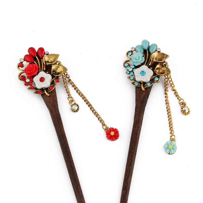 2018 Retro national winds Leaf shape natural Phoebe zhennan Zircon Hair sticks Chinese s ...