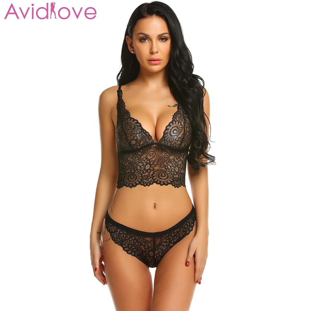 Avidlove Women Sexy Hollow Lace Floral Lingerie Sets Erotic Nightwear Nighty Costumes Hot Clothes Set Bra with G String 1