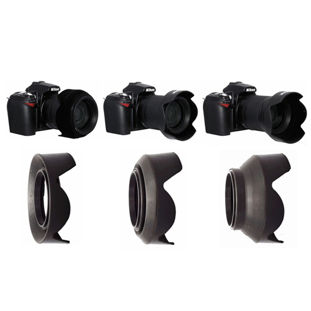 52 58 77 mm Petal 3-Stage 3 in1 Collapsible Rubber Silicon Foldable Lens Hood for Canon Nikon Pentax 52mm 58mm 77mm