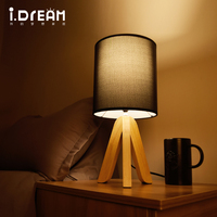 2 Color Cloth Shade Lamp Modern Wood To Protect The Family Bedroom Living Room Decorative Table