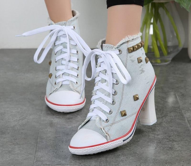 2018 Women Pumps Canvas Leather High Heel Stilettos Lace Up Sneakers Shoes Pumps