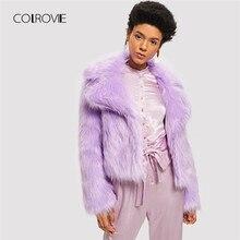 afe2631176c8 COLROVIE Violet Solide Faux Manteau De Fourrure de Partie Chaude Manteaux  D hiver 2018 Streetwear Open Front Femmes Cultures Man.