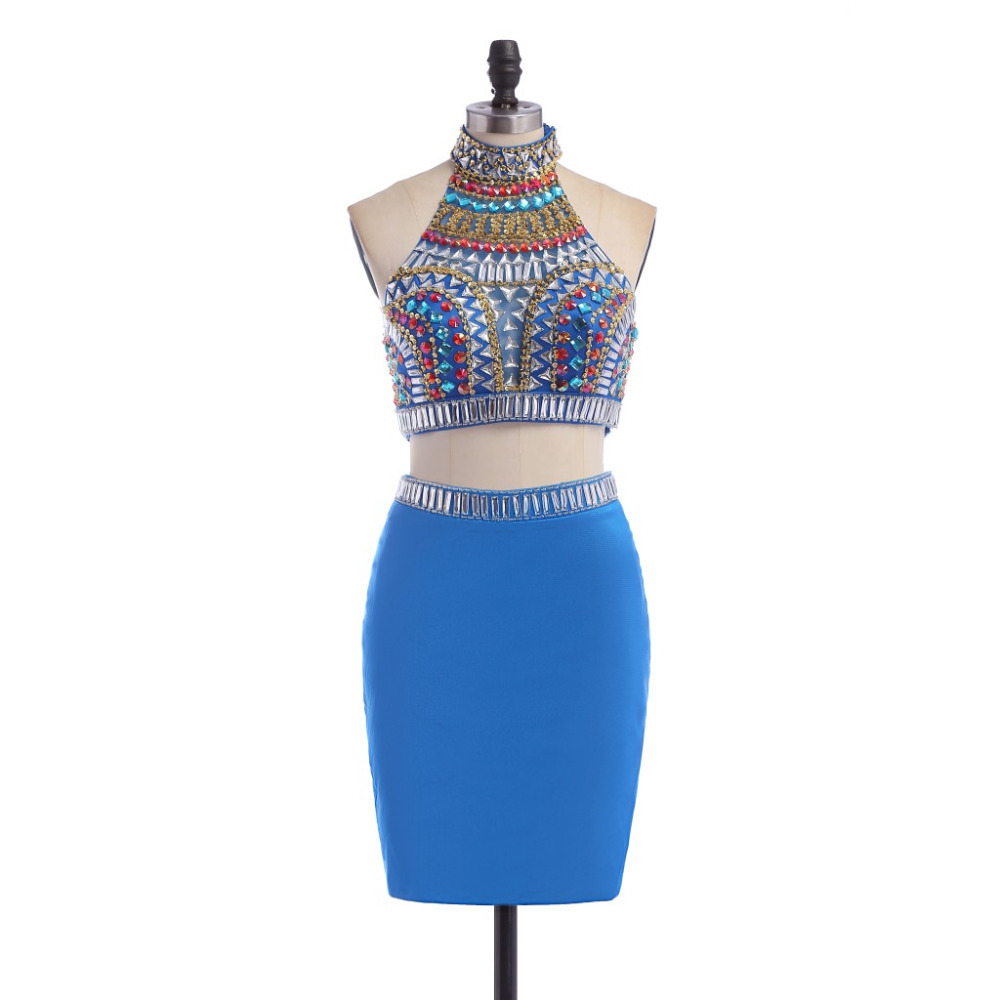 5eac2e359b56 modabelle Royal Blue Short Tight Two Piece Homecoming Dresses Beaded  Crystal High Neck Party Prom Occasion Dress 2017-in Homecoming Dresses from  Weddings ...