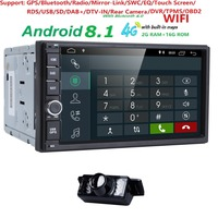 Четырехъядерный 2 + 16 г android 8,1 2din универсальный автомобильный Радио нет DVD gps навигационный плеер в тире автомобильный ПК стерео видео 4 г SWC DVR