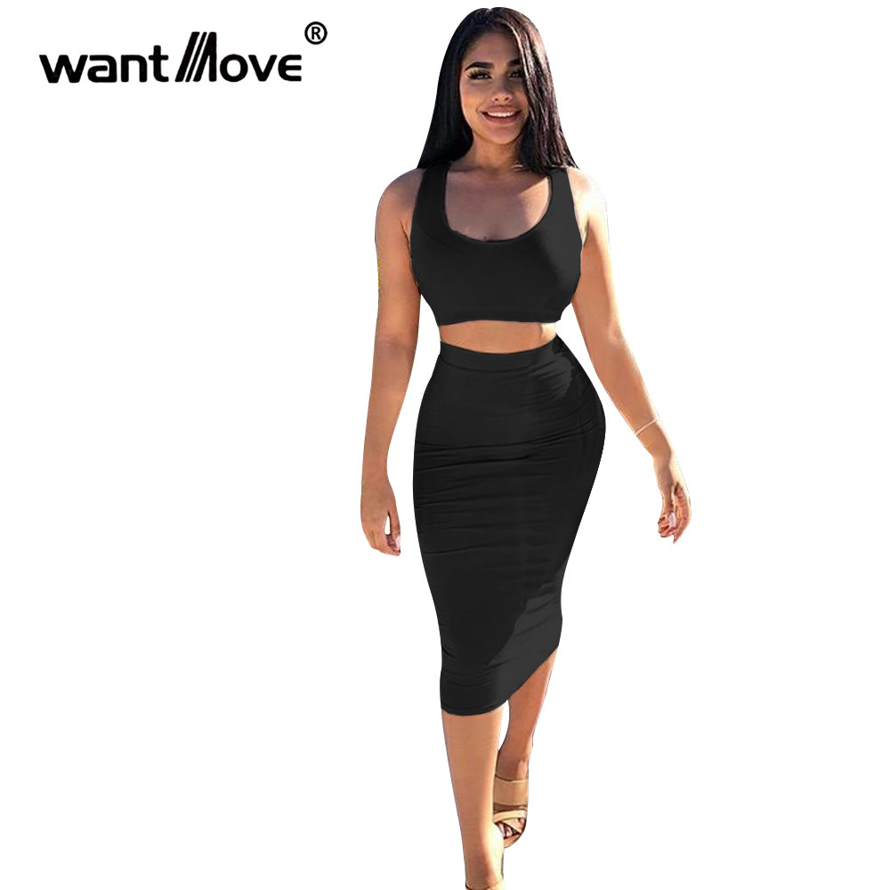 Wantmove womens fashion hot two pieces sets summer sexy solid slim tight bodycon O-neck midi dress tank club party sets JZ390