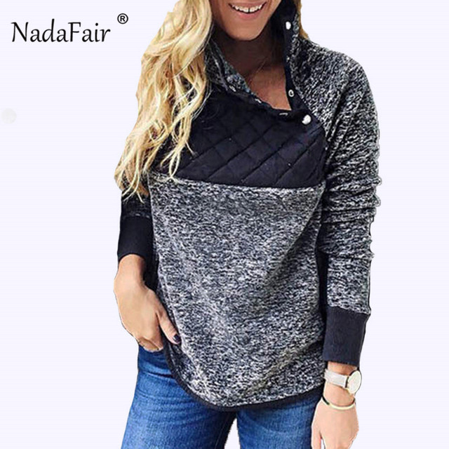 Nadafair Oversized Hoodies Da Pele Do Falso Inverno Mulheres Outono Retalhos de Pelúcia Macia Quente Camisolas de Gola Alta Plus Size Poleron Mujer