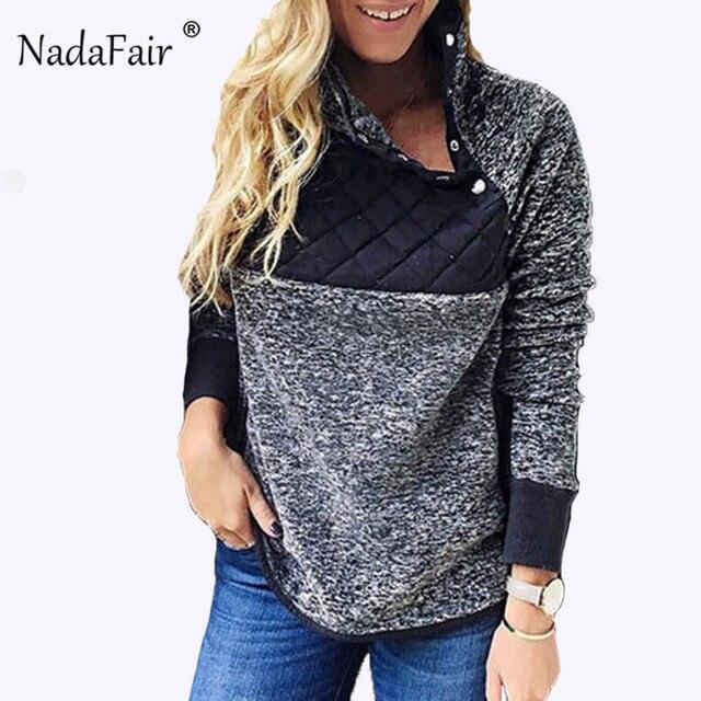 Nadafair winter turtleneck faux fur hoodies women autumn button patchwork warm soft plush sweatshirts oversized hoodie tops