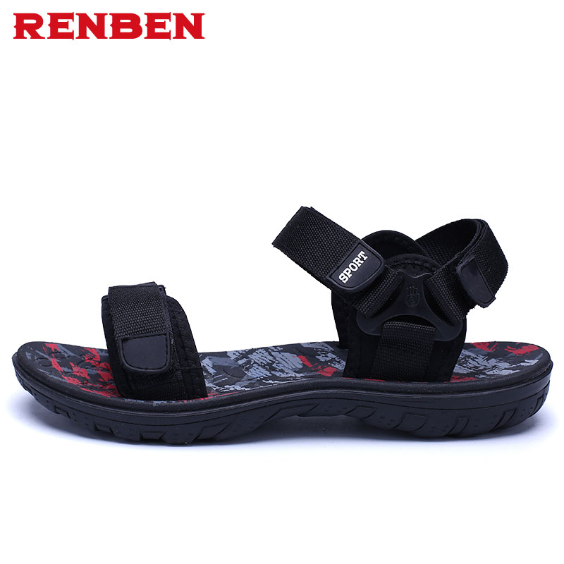 Men sandals 2018 Summer Men Black Beach Sandals high quality Unisex summer flat shoes sandalias para hombre Size