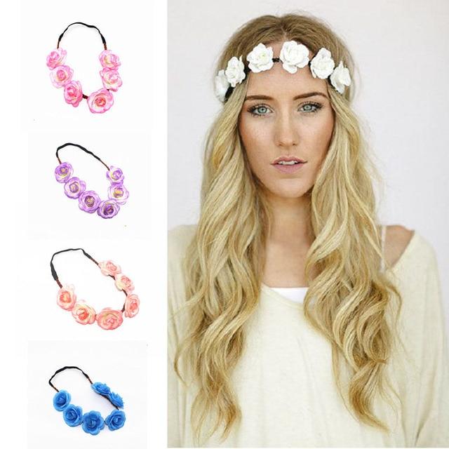 Fashion Women Bride Flower Headband Bridesmaid Floral Hairband