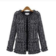 New Women Autumn Winter Long Sleeve Jacket Frayed Black Plaid Coat Round Neck Short Outwear