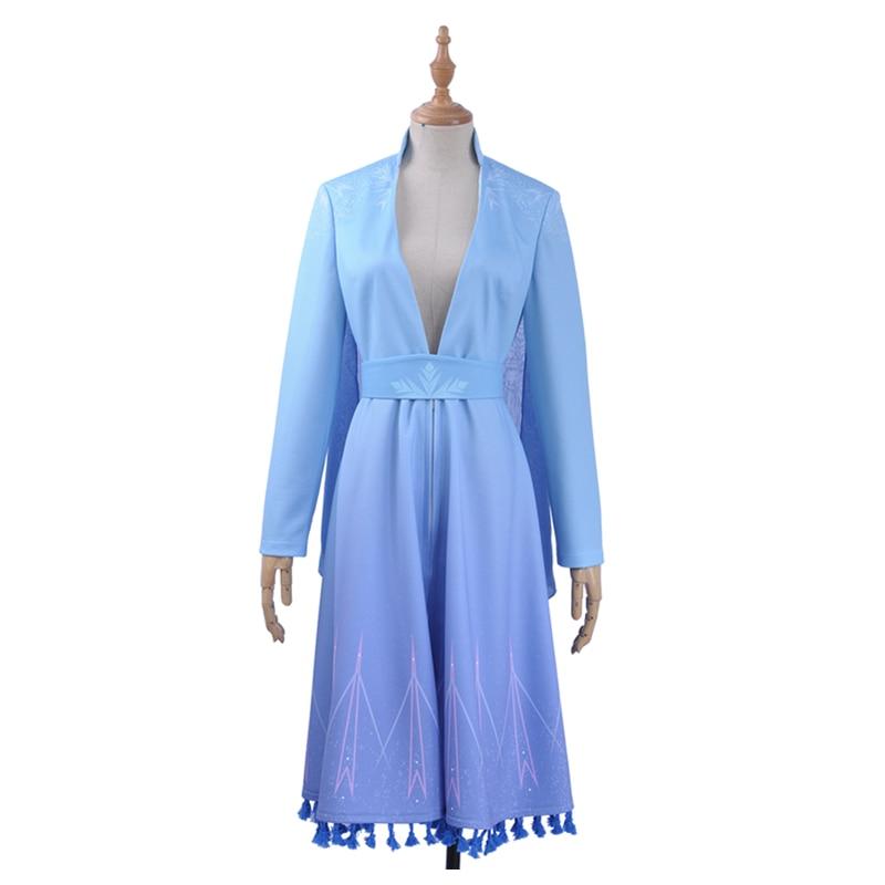 Film Elsa Princess Cosplay Costume Custom Sexy V Neck Blue Snow Printed Long Sleeve Summer Dress Girl Ponytail Wig