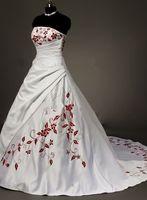 Vestido de noiva Ballkleid Brautkleider 2014 Weiß Stickerei Strapless Sleeveless Lace-up Bodenlangen Satin-kleid Lizenz