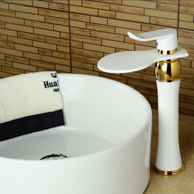 ①High white crane tall waterfall faucet bathroom white mixer tall ...