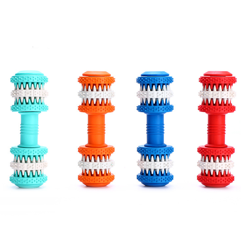 Machine - Rubber Dog Toy Molar Tooth Dumbbell Dental Bite Resistant Tooth Cleaning with 4 Colors