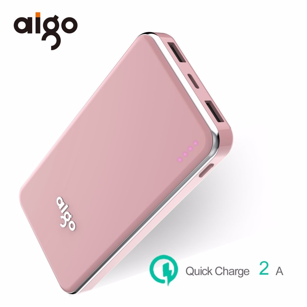 Aigo 10000mAh Mobile Chager Power Bank Ultra Slim Dual USB Ports Portable External Battery Fast Charging Charger Power Bank