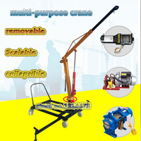 1 Ton Electric Winch Crane with Hydraulic oil cylinder Can 360 Degree Rotate Weight Lifting Machine 6000 LBS Motor