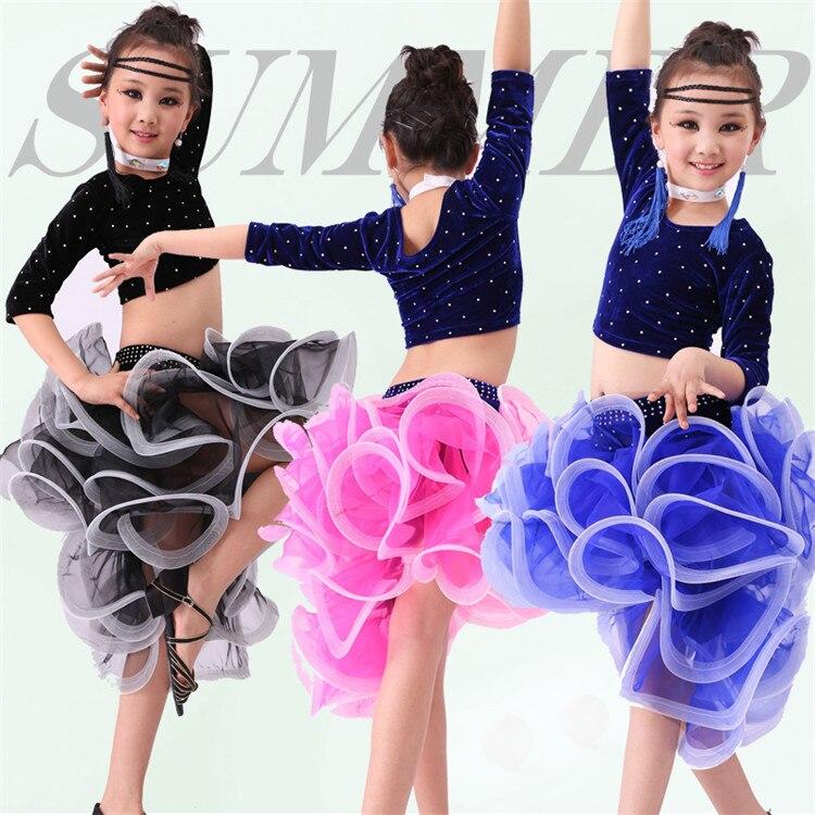 4 PCS Child Latin Dance Dresses Kids Ballroom Dance Costume Girl Modern Dance Dress Women Vestido Waltz Stage Dance Clothing 89