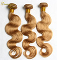 7A чистый цвет # 27 наращивание волос бразильский волна 3 пучки золото бразильский девственные волосы ломбер бразильских волос реми человеческого волоса