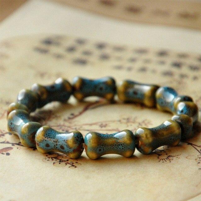 LNRRABC Bracelet Handmade Ceramics High Men Beads Heart Shaped Elastic Ceramic stone Viviparidae Round Women Bone 1PC New