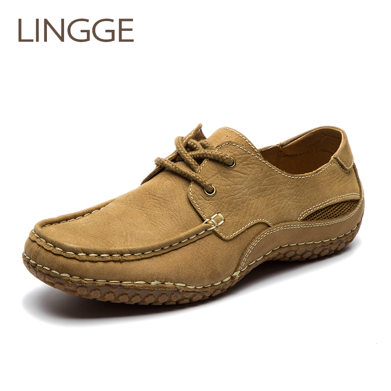 LINGGE Brand Men S Shoes Big Size 100 Genuiner Leather Shoes Lace Up Rubber Non Flip
