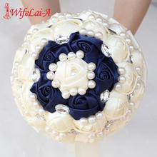 WifeLai-A Customizable Pearls Crystal Bridal Wedding Bouquets Silk Ivory Navy Flowers Holding Fake W234B