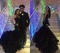 2016 nova Prom vestidos de festa Pageant vestido de noite com sereia preto Organza Ruffles V Neck Backless trem da varredura baratos