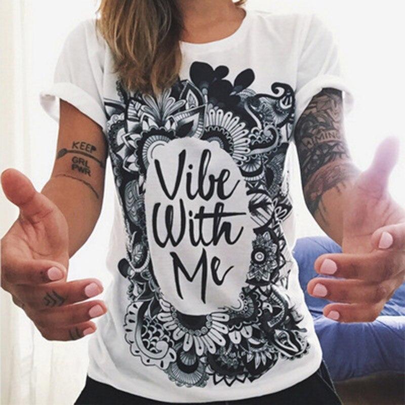 buy european t shirt summer women 2016 vibe with me print punk rock fashion. Black Bedroom Furniture Sets. Home Design Ideas