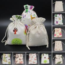 2 uds. Bolsos de joyería con cordón doble bolsa de almacenamiento con estampado de árbol de flores Vintage