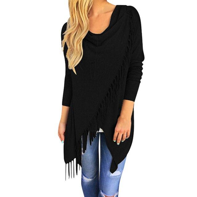 Fashion Sweater Wrap Autumn Cardigan Tassel Jumper Female Cotton Solid Irregular Design Jumper For Lady Women Sweater Pull Femme 2