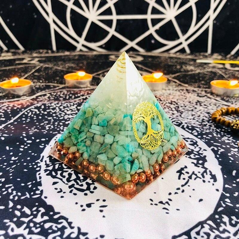 Orgonite Pyramid Raziel Vishuddha Chakra White Crystal Amazonite Resin Jewelry Decoration Faith Creativity Pyramid