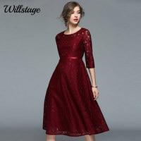 Willstage Donne Del Vestito di Pizzo Elegante Da Sera Abiti Da Festa Floreale Stampato Mid vestito Nuovo 2018 Primavera Vestidos Vino rosso Vestito Sottile