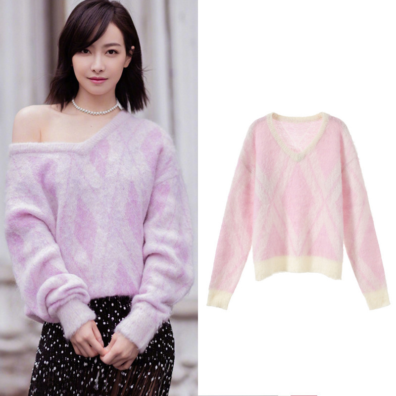 New Victoria song in same relaxed joker v neck pink plaid long sleeved sweater black wave tassel skirt SA0624 image