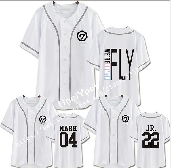 GOT7 VOAR EM SEUL concerto em conjunto com o suporte seção de Dage T-shirt camisa de manga curta para os homens/mulheres casais vestido