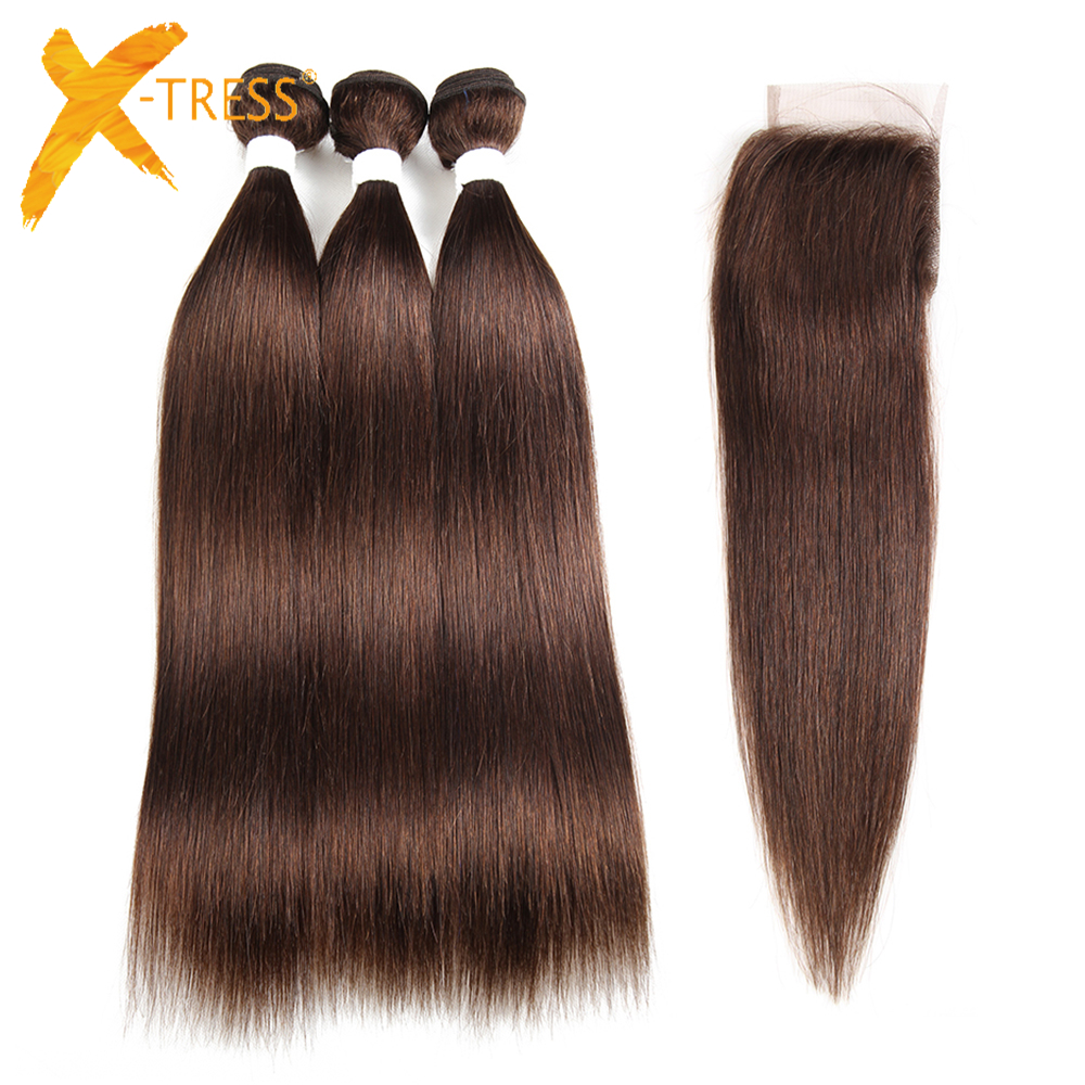 X-TRESS Pre-colored Brazilian Hair Weave Bundles Non-Remy Straight Human Hair Bundles With 4x4 Lace Closure Middle/Free Parting