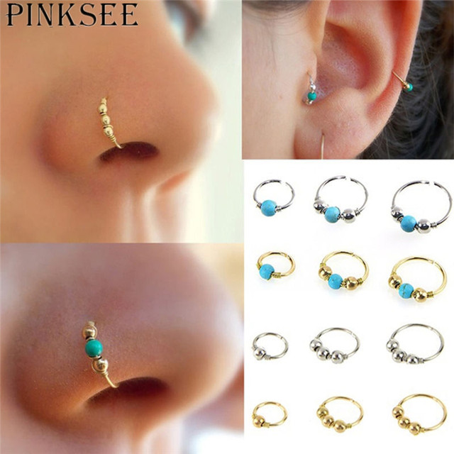 5pcs/setFire Opal Hoops Helix Piercing Ear Cartilage Surgical Steel Septum Clickers Nose Ring Nipple Lip Tragus Daith Migraine