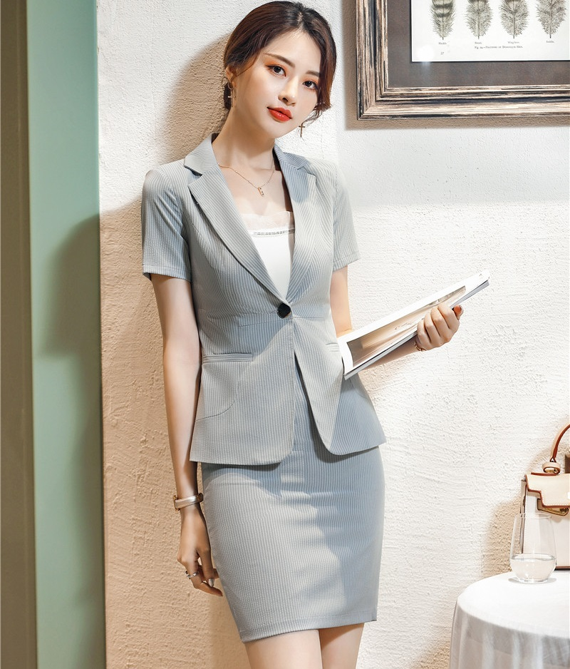 179679d02bc Summer Formal Grey Striped Blazer Women Business Suits with Skirt and Jacket  Sets Ladies Work Wear Office Uniform Styles-in Skirt Suits from Women s ...