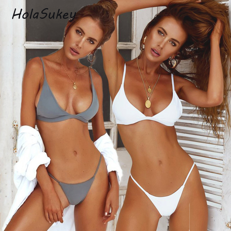 HolaSukey Micro Bikinis Sexy Solid Bikini Set 2018 New Women Swimsuits Brazilian Swimwear Retro Female Summer Bathing Suits