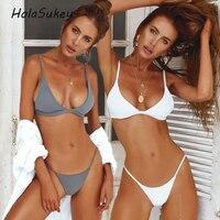 HolaSukey Micro Bikinis Sexy Solid Bikini Set 2018 New Women Swimsuits Brazilian Swimwear Retro Female Summer