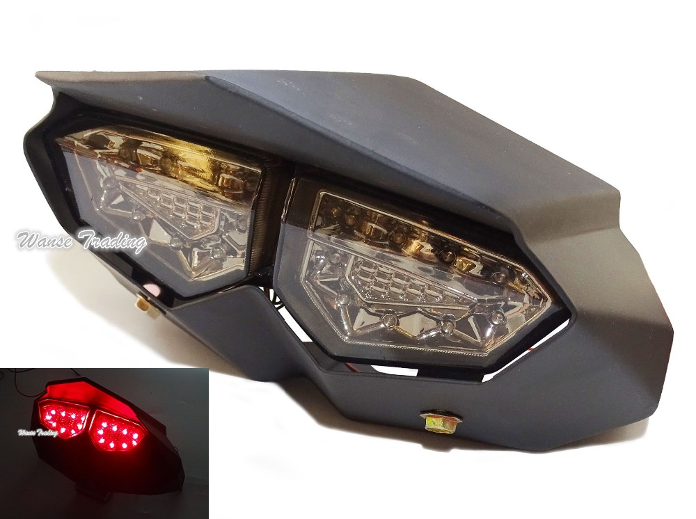 R6 Style Steel Case Tail Brake Turn Signals Integrated Led Light Smoke For 2009-2015 YAMAHA Zuma BWS X BWSX X-Over 125 YW125 e marked taillight tail brake turn signals integrated led light smoke for 1991 1992 1993 1994 1995 yamaha fzr1000 fzr 1000 exup
