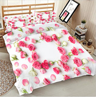 3D pink rose bedding bed sheet set bedclothes Super king duvet cover sets
