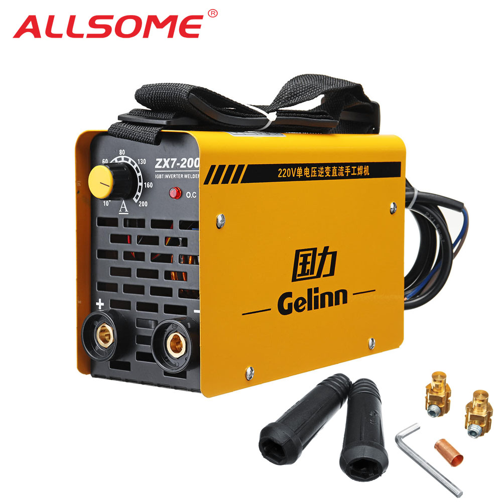 ALLSOME ZX7-200 220V 20-200A IGBT Welding Machine MMA Portable Welding Inverter For Iron & Steel HT1870-1871